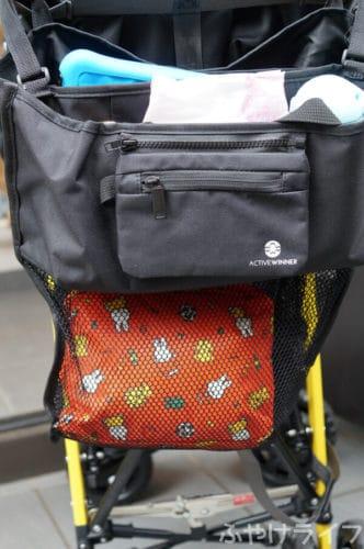 ACTIVE WINNERベビーカーバッグを実際にベビーカーに取り付け