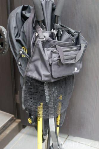 ACTIVE WINNERベビーカーバッグを取り付けたままベビーカーを畳んだ状態